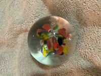 Vintage Murano Glass Paperweight Flowers Beautiful Colors Red-Blue-Yellow