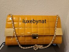 Chanel shoulder bag yellow patent leather with gold hardware