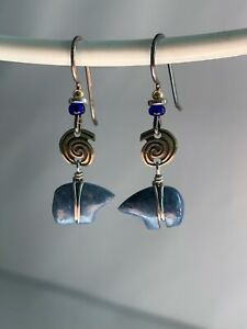 Sterling Silver Pacific Northwestern Style Handcrafted Dangle Bear Lapis PNWSale
