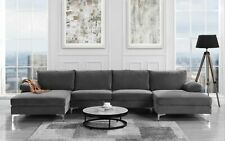 Modern Large Velvet Fabric U-Shape Sectional Sofa, Double Extra Wide Chaise Grey