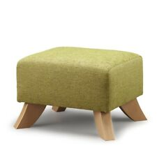 BIAGI UPHOLSTERY & DESIGN Olive Green Footstool with Solid Wood Curved Legs