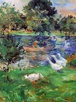 BERTHE MORISOT GIRLS IN A BOAT WITH GEESE OLD MASTER ART PAINTING PRINT 371OMA