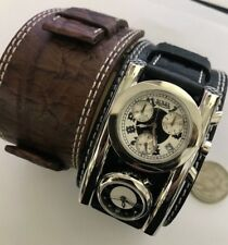 Mens Von Dutch Dutchman Swiss Made Chronograph Dual Time Gothic Leather Watch