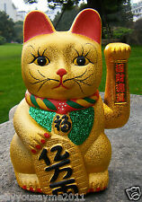 "7"" Ceramics MANEKI NEKO Beckoning Waving Wealth Gold Cat Kitty Feng Shui 18cm"