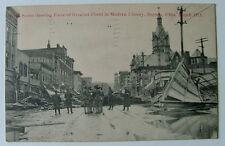 POSTCARD 1913 DAYTON OHIO FLOOD ARMED SOLDIERS GUARDING AREA OF DEVASTATION