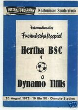 25.08.1972 Hertha BSC Berlin - Dinamo Tbilisi / Tbilisi