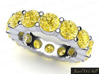 5.60Ct Round Yellow Diamond Shared Prong Eternity Band Ring 18k White Gold SI2