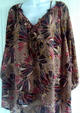 blouse top shirt xl extra large brown print sheer cami blac gray long casual