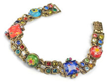 NEW SWEET ROMANCE MILLEFIORI GLASS GEOMETRIC LINK BRACELET ~~MADE IN USA~~