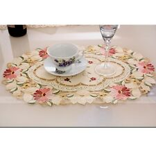 Yazi Placemat Embroidered Flower Coasters Table Fabric Cutwork Doily Desktop Mat 002093 Oval Daisy 4pcs