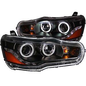 Anzo Projector Headlights Black w/Halo (CCFL) For 08-15 Mitsubishi Lancer121428