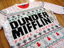 DUNDER MIFFLIN The Office Christmas Sweater sz L holidays nbc tv show dwight