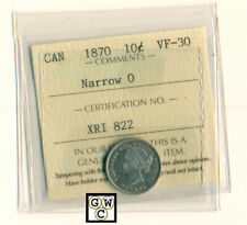 ICCS- Canada 1870 10cents Coin ; VF-30; Narrow 0 ; Certification No.- XRI 822