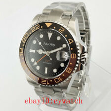 40mm Parnis Sapphire Black Dial GMT Stainless Steel Automatic Men's Wrist Watch