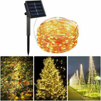 100LED Solar Fairy String Lights Copper Wire Outdoor Party Xmas Garden Decor US
