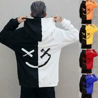 Men's Long Sleeve Hoodie Sweatshirt Color Block Hooded Jumper Coat Pullover Top