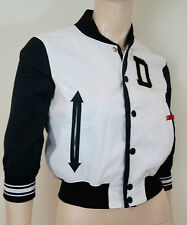 DSQUARED2 Womens White Black & Grey Cotton D Bomber Sport Varisty Jacket IT44 12