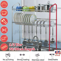 27/35'' Over Sink Dish Drying Rack Drainer Stainless Steel Kitchen Cutlery Shelf