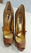 1f5a4022bf91 Hale Bob Womens Brown Leather Animal Print Peep Toe Mary Jane Heels size 9M