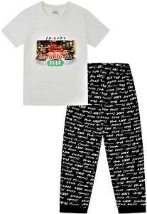 Ladies FRIENDS Central Perk Pyjamas for Cafe TV Show PJ Set Black White