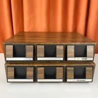 LOT of 2 Vintage Cassette Tape Holder Storage Cases w/Drawers - Fake Wood