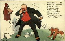 Tom Browne - Grouchy Angry Man on Telephone Scared Cat c1910 Postcard