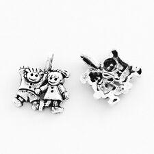 20 School Children Boy Girl Small Antique Silver Charms 12mm x 13mm (241)