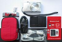 NEU Canon IXUS135 Silber WiFi 16MP 8xZoom +Zubehörpaket 8GB-SD-Karte Tasche °°25