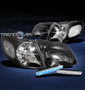 1997-2005 VENTURE TRANS SPORT CRYSTAL BLACK HEAD LIGHTS LAMP+CORNER+BLUE LED DRL