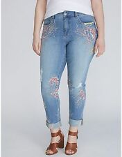 NEW PLUS SIZE EMBROIDERED SKINNY JEAN BY MELISSA MCCARTHY SEVEN7 16W