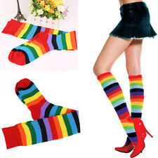Lady Girl Colorful Polyester Over Knee Stocking Comely Rainbow Long Tight Sock