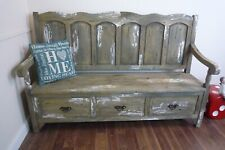 Large Monks Bench - Three Seater In Rustic Weathered Oak & White Finish