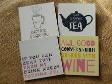 NOVELTY CORK BACKED SQUARE DRINKS COASTERS. WINE/COFFEE/TEA.