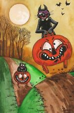 4X6 HALLOWEEN POSTCARD PRINT LE 8/27 RYTA VINTAGE STYLE ART BLACK CAT JOL HORROR