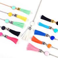 Women Fashion Jewelry Enamel Disc Blank Tassel Pendant Long Chain Necklace