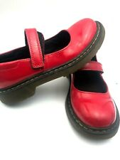 "Dr Martens Doc Red  Mary Jane Shoes 9"" Strap Platform Wedge Leather England"