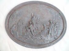 ANCIEN SCÈNE MARINE à suspendre ovale tirage en fonte de fer Signé date 1852
