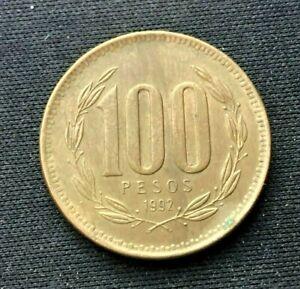 1992 Chile 100 Pesos Coin AU     World Coin aluminum bronze      #K1655