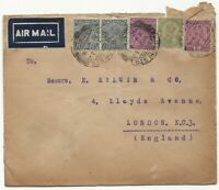 1932 PAKISTAN KARACHI to LONDON ENGLAND AIRMAIL Cover 3ps 2a 4a 8a Stamps