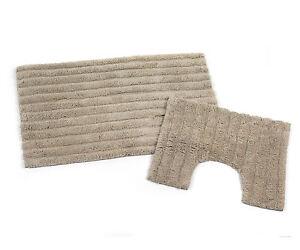 Beldray 2 Piece Anti-Slip Latex Backed Striped NATURAL Cotton Bathroom Mat Set