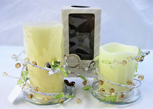 """Flameless Burnt Ivory Candles 4.5"""" & 6"""", Gemstone Silver Wraps, Glass Plates NOS"""
