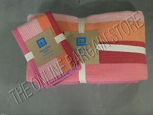 Pottery Barn Teen Henley Stripe Bed Dorm Quilt Twin Standard Sham Pink Coral