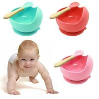 Baby Silicone Tableware Powerful Suction Cup Children's Bowl Feeding Spoon G3U3