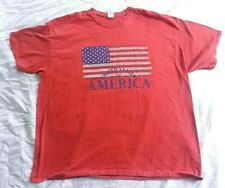 Gildan Red Graphic T-Shirt Men's United States of America with Flag Size 2XL