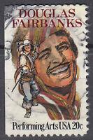 USA Briefmarke gestempelt 20c Douglas Fairbanks Rundstempel Vollstempel / 2215
