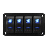 4 Gang Dual LED Switch Panel Light Bar Car Caravan Marine Boat Rv Rocker 12V  Jf