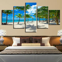 Tropical White Sand Beach Relaxing Chairs 5 Panel Canvas Print Wall Art Poster