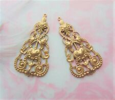 Drops Filigree Stamping (C-101) Brass (2 Pieces) Boho Earring