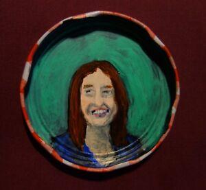 MICHELLE SHOCKED, Jam Jar Lid Portrait, Folk Singer, Outsider Art by PETER ORR