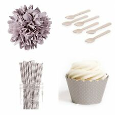Dress My Cupcake Dessert Table Party Bundle, Standard, Grey